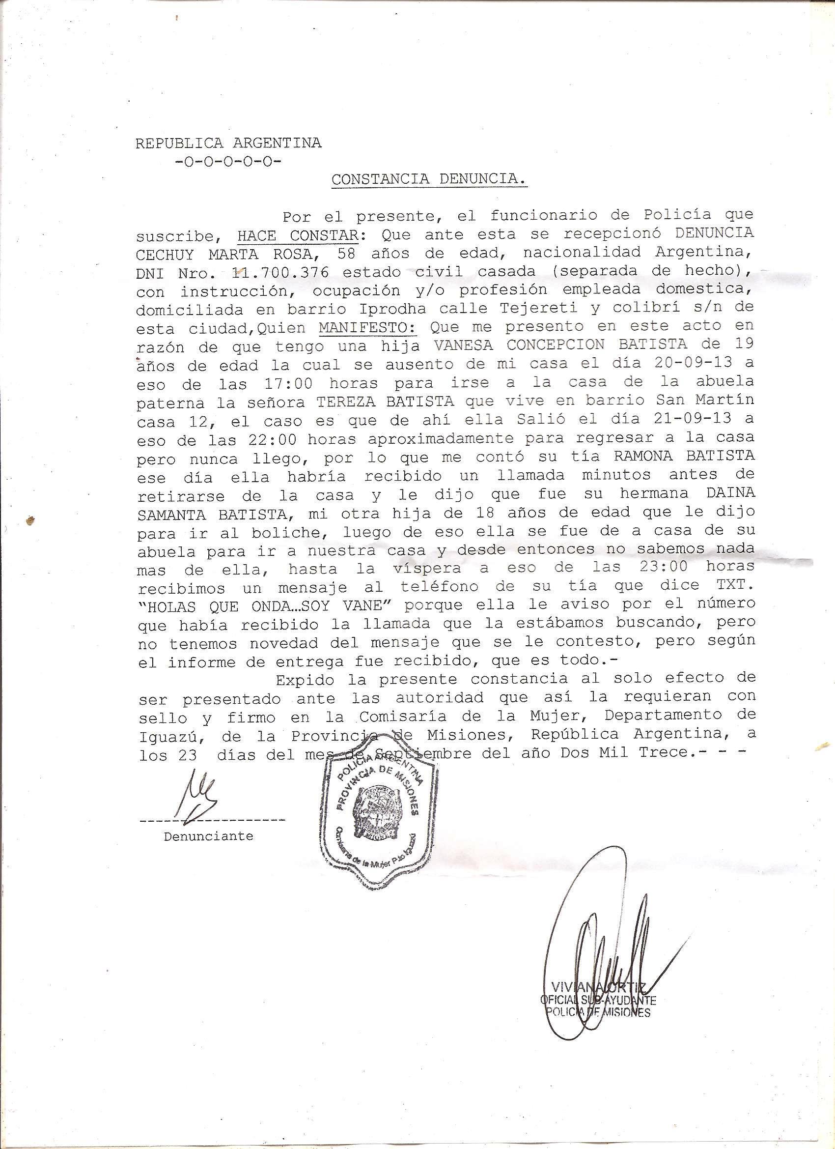 Constancia de denuncia - menor desaparecida 23-09-2013